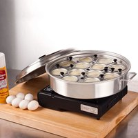 12 Cup Aluminum Egg Poacher with Lid - 14 1/8 inch x 2 1/2 inch