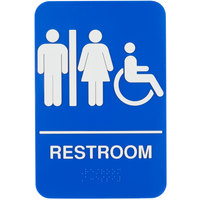 Tablecraft 695650 ADA Handicap Accessible Women's / Men's Restroom Sign with Braille - Blue and White, 9 inch x 6 inch
