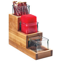 Cal-Mil 3612-4-99 3-Step Madera Reclaimed Wood Display with 3 Glass Jars - 14 1/2 inch x 5 1/4 inch x 12 1/2 inch
