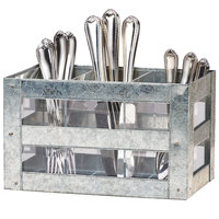 Cal-Mil 3596 Galvanized Flatware Holder - 10 inch x 6 inch x 6 inch