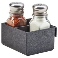 Cal-Mil 3574-13 Black Slanted Organizer Plastic Split Shaker and Packet Holder - 3 1/2 inch x 3 1/2 inch x 2 inch