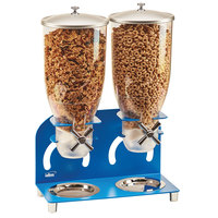 Cal-Mil 3510-2-41 3.5 Liter Blue Double Canister Cereal Dispenser - 12 1/4 inch x 6 inch x 18 1/2 inch