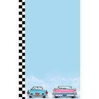 8 1/2 inch x 11 inch Menu Paper - Retro Themed Car Design Left Insert - 100/Pack