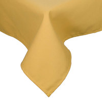 72 inch x 120 inch Yellow Hemmed Polyspun Cloth Table Cover