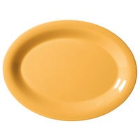 GET OP-135-TY Diamond Mardi Gras 13 1/2 inch x 10 1/4 inch Tropical Yellow Oval Melamine Platter - 12/Case