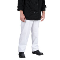 Chef Revival P201CPZ-34 Size M Classic White Cook Pants - Poly-Cotton
