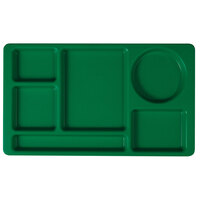 Cambro 915CP437 (2 x 2) 8 3/4 inch x 15 inch Kelly Green Six Compartment Serving Tray - 24 / Case