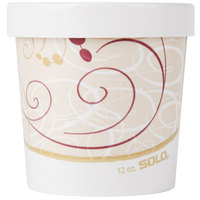 Dart Solo KH12A-J8000 12 oz. Double-Wall Poly Paper Soup / Hot Food Cup with Vented Paper Lid and Symphony Design - 250 / Case