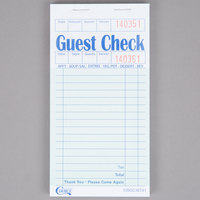 Choice 1 Part Green and White Guest Check with Beverage Lines and Top Guest Receipt - 50/Case
