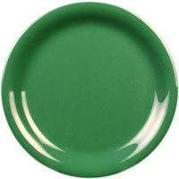 10 1/2 inch Green Narrow Rim Melamine Plate - 12/Pack