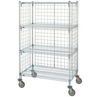 Metro Super Erecta AST55MC Chrome Wire Slanted Shelf Truck 24 inch x 48 inch x 62 inch