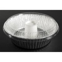 D&;W Fine Pack D62 10 inch Aluminum Foil Angel Food Pan with Clear Dome Lid - 10/Pack