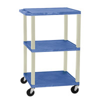Luxor WT1642E Blue Tuffy Open Shelf A/V Cart 18 inch x 24 inch with 3 Shelves - Adjustable Height