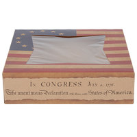 Southern Champion 2482 9 inch x 9 inch x 2 inch Auto-Popup Window Cake / Bakery Box with Vintage American Flag / Declaration of Independence Design - 150/Bundle