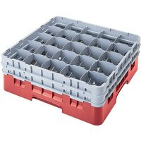 Cambro 25S638163 Camrack 6 7/8 inch High Red 25 Compartment Glass Rack