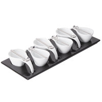 CAC PTP-6-B Bright White Party Collection Porcelain 6 Cup and Spoon Set with Black Rectangular Platter - 8/Case