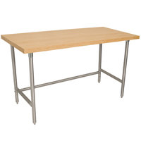 Advance Tabco TH2G-246 Wood Top Work Table with Galvanized Base - 24 inch x 72 inch