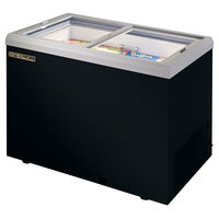 True TFM-41FL Black Flat Glass Lid Horizontal Freezer - 10 cu. ft.