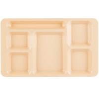 Cambro 1596CW133 Camwear (2 x 2) 9 inch x 15 inch Beige Six Compartment Serving Tray - 24/Case