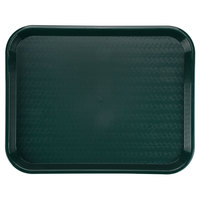 Carlisle CT141808 Customizable Cafe 14 inch x 18 inch Forest Green Standard Plastic Fast Food Tray - 12 / Case