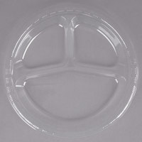 Creative Converting 019418 10 inch 3 Compartment Clear Plastic Plate - 20/Pack