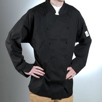 Chef Revival J017BK-3X Chef-Tex Breeze Size 56 (3X) Black Customizable Cuisinier Chef Jacket