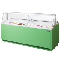 Turbo Air TIDC-91G 89 inch Green Low Curved Glass Ice Cream Dipping Cabinet