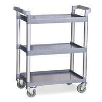 Three Shelf Utility Cart / Bus Cart - Gray 33 1/4 inch x 17 inch x 37 3/8 inch