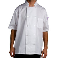 Chef Revival J105-L Size 46 (L) Customizable Short Sleeve Double Breasted Chef Coat - Poly Cotton
