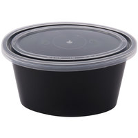 Newspring YE502-B ELLIPSO 2 oz. Black Oval Souffle / Portion Cup with Clear Lid - 1000/Case