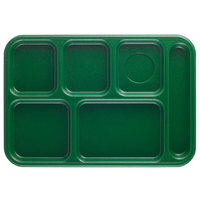 Cambro 10146CW119 Camwear 10 inch x 14 1/2 inch Sherwood Green 6 Compartment Serving Tray - 24/Case