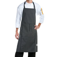 Chef Revival 619BA-WS Customizable Black with White Pinstripe Full Length Chef Bib Apron - 38 inchL x 29 inchW