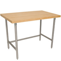Advance Tabco TH2S-244 Wood Top Work Table with Stainless Steel Base - 24 inch x 48 inch