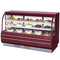 Turbo Air TCGB-72-2 Red 72 1/2 inch Curved Glass Refrigerated Bakery Display Case - 22.7 Cu. Ft.