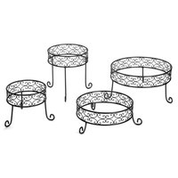 Tablecraft BK2RR Round 4 Piece Black Metal Riser