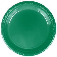 Creative Converting 28112021 9 inch Emerald Green Plastic Dinner Plate - 20 / Pack