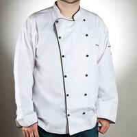 Chef Revival J044-XL Chef-Tex Breeze Size 48 (XL) Customizable Poly-Cotton Brigade Chef Jacket with Black Piping