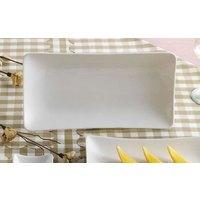 CAC SHA-13 Sushia 12 inch x 6 1/4 inch Super White Rectangular Porcelain Platter - 12/Case