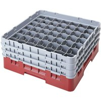Cambro 49S318416 Cranberry Camrack 49 Compartment 3 5/8 inch Glass Rack