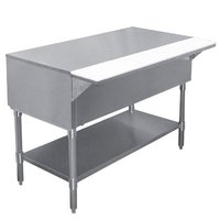 APW WT-3 22 1/2 inch x 48 inch Stainless Steel Work-Top Counter with Cutting Board and Galvanized Undershelf