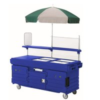 Cambro CamKiosk KVC856U186 Navy Blue Vending Cart with 6 Pan Wells and Umbrella