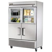True T-49-2-G-2 55 inch Combination Half Door Reach In Refrigerator with Glass Top Doors and Solid Bottom Doors