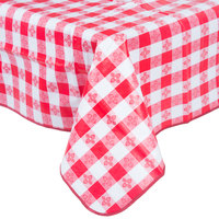 52 inch x 90 inch Red Gingham Vinyl Table Cover with Flannel Back