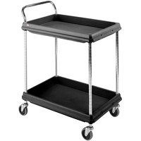 Metro BC2030-2DBL Black Utility Cart with Two Deep Ledge Shelves 32 3/4 inch x 21 1/2 inch