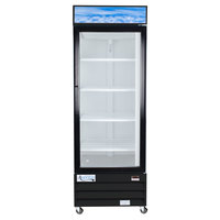 Avantco GDC23 28 inch Swing Glass Door Black Merchandiser Refrigerator with LED Lighting