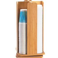 Cal-Mil 378-60 Bamboo Revolving Lid / Cup Organizer - 8 inch x 8 inch x 18 1/4 inch