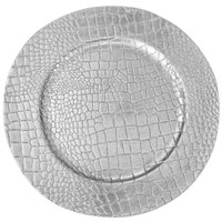 The Jay Companies 13 inch Crocodile Silver Melamine Charger Plate
