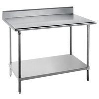 Advance Tabco KAG-305 30 inch x 60 inch 16 Gauge Stainless Steel Commercial Work Table with 5 inch Backsplash and Galvanized Undershelf