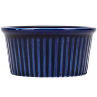 CAC RKF-3BLU Festiware 3 oz. Blue China Fluted Ramekin - 48/Case