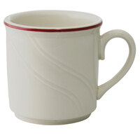 Homer Laughlin Lydia Maroon 8.25 oz. Off White China Mug - 36/Case